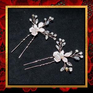 Two Crystal Rhinestone Hair Pins #018